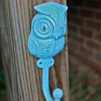 "Whimsical Aqua Blue ""OWL"" Wall Hook by AquaXpressions"