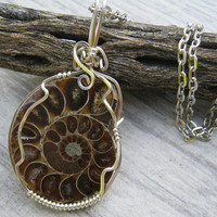Sterling AAA Ammonite Fossil Pendant, Wire Wrapped in .925 Sterling Silver, Nautilus Root Chakra Pendant, Fibonacci, READY To SHIP GP13