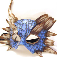 Blue Leather Dragon Mask with Damaged Horns