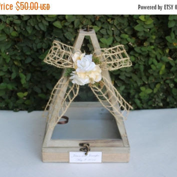 ON SALE Wedding Card Box / Rustic Wooden Wishes Card Box Holder / Wedding Decor
