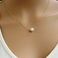 Sweet Pearl Pendant Necklace For Women (Color: Gold) [7764925383]