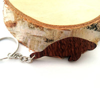 Wooden Manatee Keychain, Animal Keychain, Sea Animal Keychain, Walnut Wood, Environmental Friendly Green materials