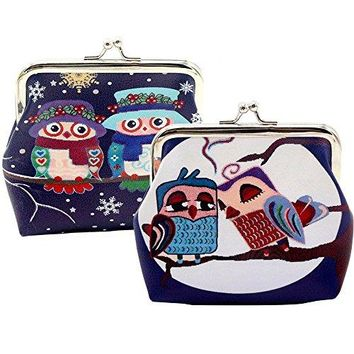 Oyachic 2 Packs Coin Pouch Cute Owl Pattern Purse Clasp Closure Clutch Wallet Bag Gift