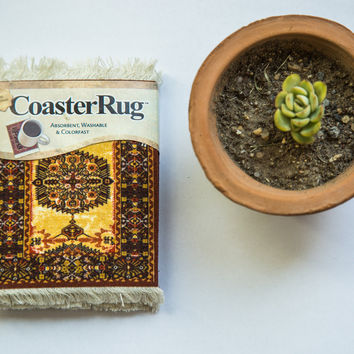 Ivory Gold Persian Rug Coaster Set