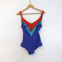 Vintage Retro 80s Blue Red Green Purple Ruffle Sirena Bathing Suit Swimsuit One Piece Medium Size 10 Beach Hipster 1970s