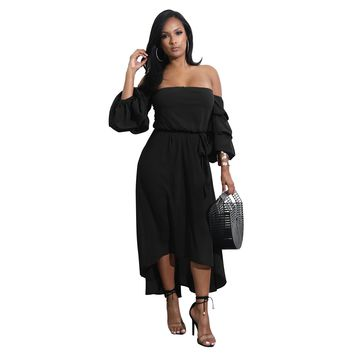 Strapless HighLow Long Dress with Sleeves