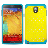 MYBAT Luxurious Lattice Hybrid Case for Galaxy Note 3 - Yellow/Teal