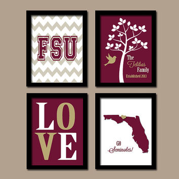 FSU Florida State University College Go Seminoles Custom Family Monogram Initial LOVE Bird Tree Wedding Set of 4 Prints Wall ART Graduation