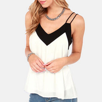 Women's White with Black Trim V-Neck Strappy Tank Top Blouse