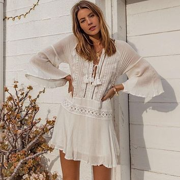 Women White Lace Tassels Beach Dress Cover up