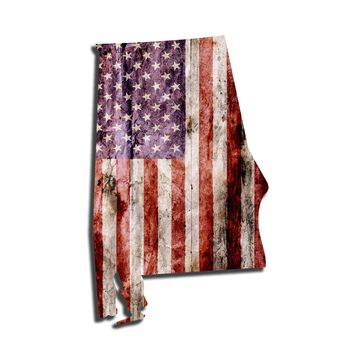 Alabama Distressed Tattered Subdued USA American Flag Vinyl Sticker
