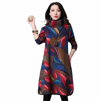 NYFS Vintage Casual Maternity Thick Winter Dress Women Cotton Padded Maxi Long Dress Vestidos Robe Elbise Dresses