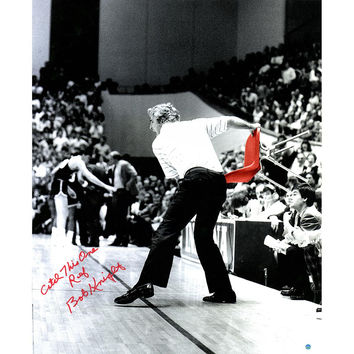 Bob Knight Signed Throwing Chair Vertical BW w Color Accents 20x24 Photo w Catch this one Ref Insc. (Signed in Red)