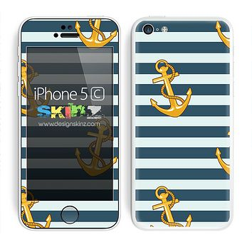 Navy Striped and Gold Multiple Anchors Skin For The iPhone 5c