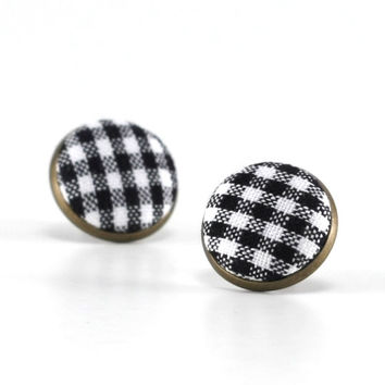 Stud Earrings, Black and White, Gingham Earring Studs, Classic Fabric Buttons Jewelry, Elegant Earring Posts, Antique Button Jewelry
