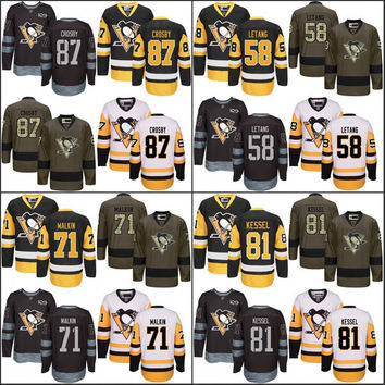 2017 Stanley Cup Champions Patch Men's Pittsburgh Penguins 87 Sidney Crosby 71 Evgeni Malkin 81 Phil Kessel 58 Kris Letang hockey jersey