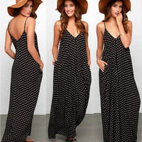 New Fashion 2016 Summer Women Strapless Polka Dot Casual Loose Long Maxi Dress Sexy V-neck Beachwear Vestidos Plus Size