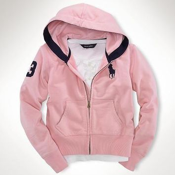 Beauty Ticks Ralph Lauren Big Pony Full-zip Hoodie S-xl Pink