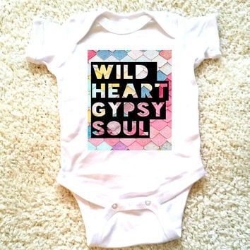 Wild heart gypsy soul graphic baby Onesuit for newborn, 6 months, 12 months, and 18 months bohemian hippie baby gift