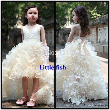 Free shipping  Pageant dresses for girls glitz  Elegant trailing gown designer flower girl gowns Can be custom made 3-14 age