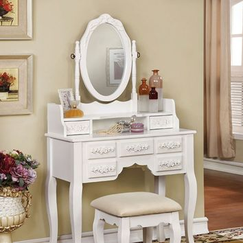 3 pc harriet collection transitional style white finish wood bedroom make up vanity sitting table set with mirror