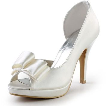 Ivory Satin Peep Toe High Heel Simple High Quality Classy Prom Shoes S120