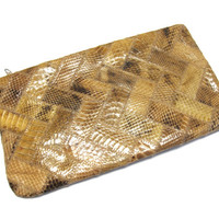Vintage Golden Brown Snakeskin Clutch Patchwork Purse