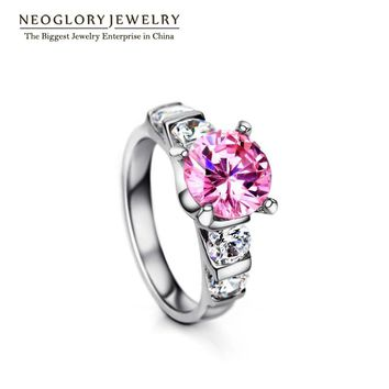 Neoglory Cubic Zircon Stone  Engagement Wedding Rings