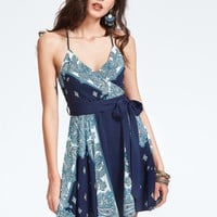 Paisley Print Crisscross Back Self Tie Wrap Dress -SheIn(Sheinside)