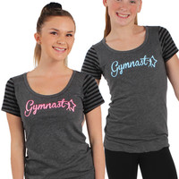 Black Stripe Glitter Gymnast T-Shirt