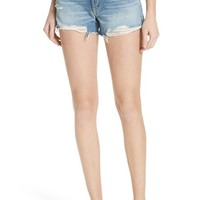 GRLFRND Dovima Distressed Denim Shorts (Half Moon) | Nordstrom