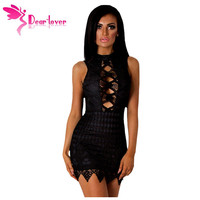 Dear-Lover Lace Dresses Summer Party Little Black Sleeveless Crochet Cut out Back Mini Dress Vestido de Renda Sundress LC22749
