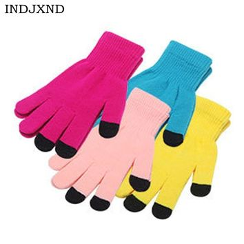 INDJXND Winter Soft Gloves Mens Touched Screen Glove Women Texting Capacitive Smartphone Stretchy Windproof Mittens Colors G019
