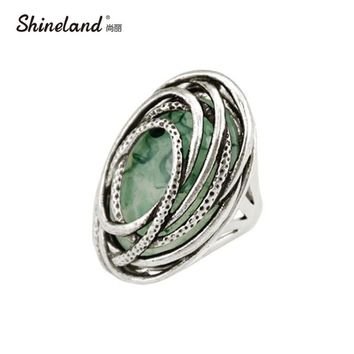 Shineland 2017 New Arrival Women Fashion Vintage Antique Silver Color Resin Statement Rings Men Steampunk Style Charm Jewelry