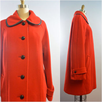 Vintage 60s Ladies Red Hot Wool Coat by M. Liman Co. Penguin Fashions w