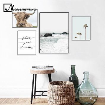 Scandinavian Landscape Sea Beach Canvas Poster Cow Minimalist Nordic Style Wall Art Print Painting Tropical Decoration Picture