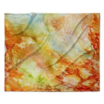 "Rosie Brown ""Autumn Breeze"" Orange Red Fleece Throw Blanket"