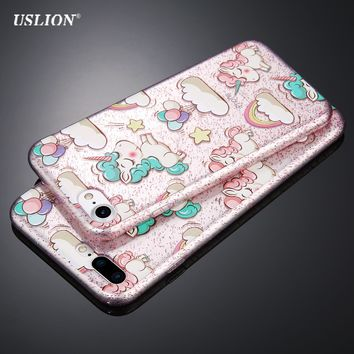 Unicorn Phone Case For iPhone 7 Plus, 7, 6 Plus, 6, 5, 5S, SE Shockproof + Anti-knock + Anti-skid + Scratch-resistant