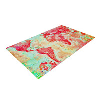 """Alison Coxon """"Oh The Places We'll Go"""" World Map Woven Area Rug"""