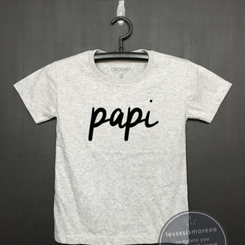 Papi , Kids Birthday Shirt - Boys or Girls Clothing- Funny Birthday, Kid Shirt, little girl, hipster kids, Flock printing