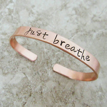 Just Breathe Inspirational Cuff Bracelet