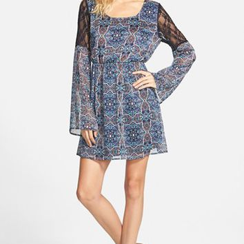 Junior Women's Speechless Mosaic Print Babydoll Dress,