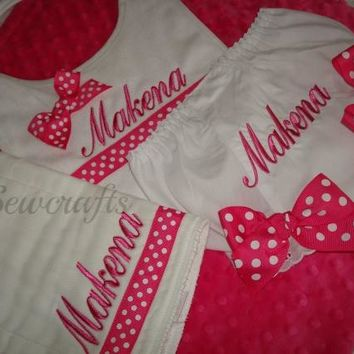 Makena Personalized Burp Cloth, Bib and Diaper Cover - Choice of Name and/or up to 3 monograms