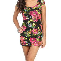 Floral Printed Lace Bodycon | Shop Dresses at Wet Seal