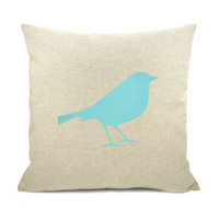 Bird pillow case Aqua bird print on natural by ClassicByNature