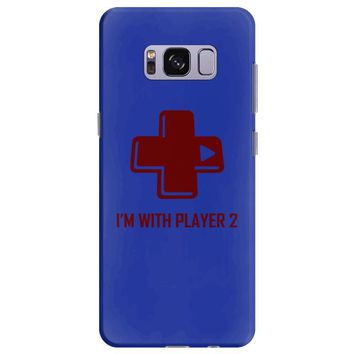 i'm with player 2 video game gamer computer geek nerd funny tee shirt Samsung Galaxy S8 Plus