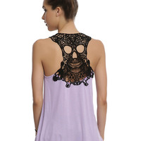 Black & Lavender Crochet Skull Girls Tank Top