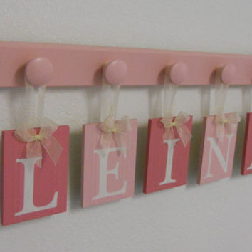 Wooden Name Letters for Girls Room, Pink Baby Custom Wall Letters, Personalized for LEINA - 5 Pegs