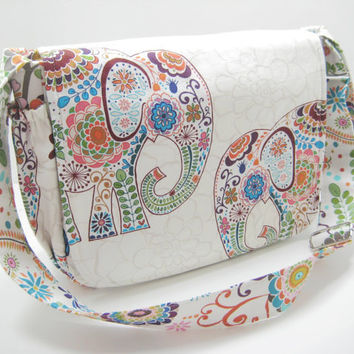 Elephant Diaper Bag, Elephant Messenger Bag, Cross Body Bag in Colorful Elephant Print, Ready to Ship