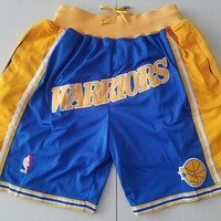 Warrior Vintage Embroidered Pocket Zipper Ball Pants - Blue